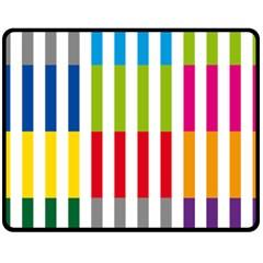 Color Bars Rainbow Green Blue Grey Red Pink Orange Yellow White Line Vertical Fleece Blanket (medium)  by Alisyart