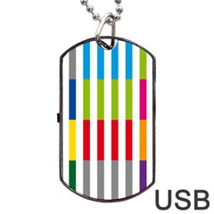 Color Bars Rainbow Green Blue Grey Red Pink Orange Yellow White Line Vertical Dog Tag Usb Flash (one Side) by Alisyart