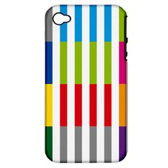 Color Bars Rainbow Green Blue Grey Red Pink Orange Yellow White Line Vertical Apple Iphone 4/4s Hardshell Case (pc+silicone) by Alisyart