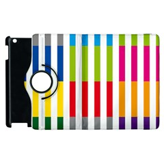 Color Bars Rainbow Green Blue Grey Red Pink Orange Yellow White Line Vertical Apple Ipad 2 Flip 360 Case by Alisyart