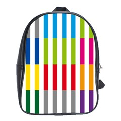 Color Bars Rainbow Green Blue Grey Red Pink Orange Yellow White Line Vertical School Bags (xl)  by Alisyart