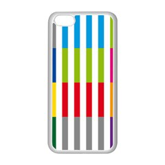 Color Bars Rainbow Green Blue Grey Red Pink Orange Yellow White Line Vertical Apple Iphone 5c Seamless Case (white) by Alisyart