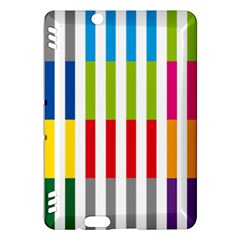 Color Bars Rainbow Green Blue Grey Red Pink Orange Yellow White Line Vertical Kindle Fire Hdx Hardshell Case by Alisyart
