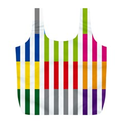 Color Bars Rainbow Green Blue Grey Red Pink Orange Yellow White Line Vertical Full Print Recycle Bags (l)  by Alisyart