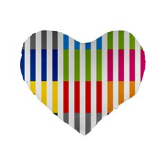 Color Bars Rainbow Green Blue Grey Red Pink Orange Yellow White Line Vertical Standard 16  Premium Flano Heart Shape Cushions by Alisyart