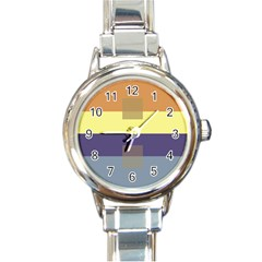 Color Therey Orange Yellow Purple Blue Round Italian Charm Watch by Alisyart