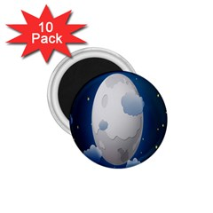 Cloud Moon Star Blue Sky Night Light 1 75  Magnets (10 Pack)  by Alisyart