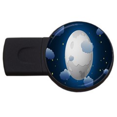 Cloud Moon Star Blue Sky Night Light Usb Flash Drive Round (4 Gb) by Alisyart