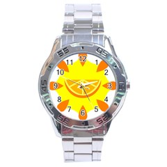 Citrus Cutie Request Orange Limes Yellow Stainless Steel Analogue Watch by Alisyart