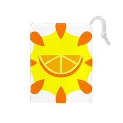 Citrus Cutie Request Orange Limes Yellow Drawstring Pouches (medium)  by Alisyart