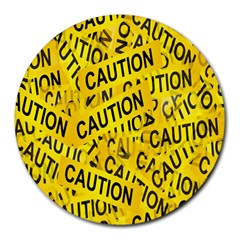 Caution Road Sign Cross Yellow Round Mousepads by Alisyart