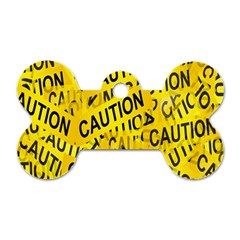 Caution Road Sign Cross Yellow Dog Tag Bone (two Sides) by Alisyart