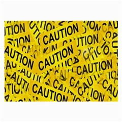 Caution Road Sign Cross Yellow Large Glasses Cloth (2 Side) by Alisyart