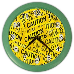 Caution Road Sign Cross Yellow Color Wall Clocks by Alisyart