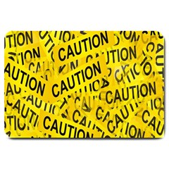 Caution Road Sign Cross Yellow Large Doormat  by Alisyart