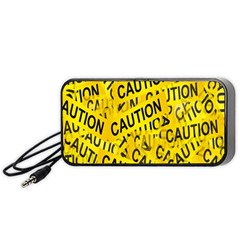 Caution Road Sign Cross Yellow Portable Speaker (black) by Alisyart