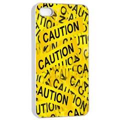 Caution Road Sign Cross Yellow Apple Iphone 4/4s Seamless Case (white) by Alisyart