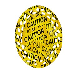 Caution Road Sign Cross Yellow Oval Filigree Ornament (two Sides) by Alisyart