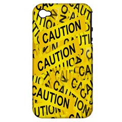Caution Road Sign Cross Yellow Apple Iphone 4/4s Hardshell Case (pc+silicone) by Alisyart