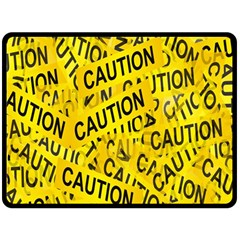 Caution Road Sign Cross Yellow Double Sided Fleece Blanket (large)  by Alisyart