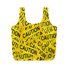 Caution Road Sign Cross Yellow Full Print Recycle Bags (m)  by Alisyart