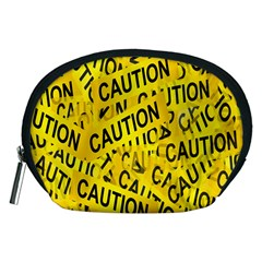 Caution Road Sign Cross Yellow Accessory Pouches (medium)  by Alisyart