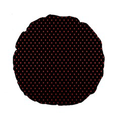 Colored Circle Red Black Standard 15  Premium Round Cushions by Alisyart