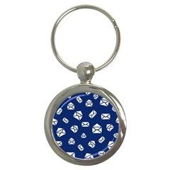 Envelope Letter Sand Blue White Masage Key Chains (round)  by Alisyart