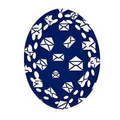 Envelope Letter Sand Blue White Masage Oval Filigree Ornament (two Sides) by Alisyart