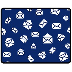 Envelope Letter Sand Blue White Masage Double Sided Fleece Blanket (medium)  by Alisyart