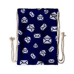 Envelope Letter Sand Blue White Masage Drawstring Bag (small) by Alisyart