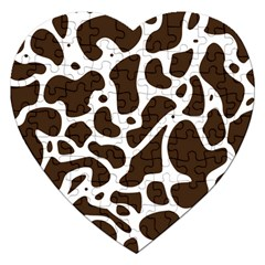 Dalmantion Skin Cow Brown White Jigsaw Puzzle (heart) by Alisyart