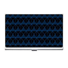 Colored Line Light Triangle Plaid Blue Black Business Card Holders by Alisyart