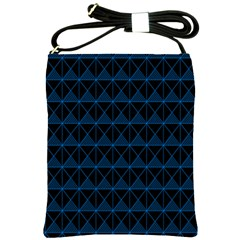 Colored Line Light Triangle Plaid Blue Black Shoulder Sling Bags by Alisyart
