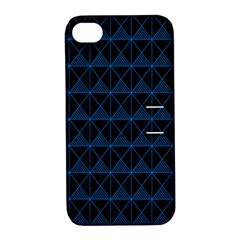 Colored Line Light Triangle Plaid Blue Black Apple Iphone 4/4s Hardshell Case With Stand by Alisyart