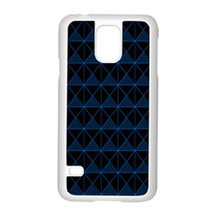 Colored Line Light Triangle Plaid Blue Black Samsung Galaxy S5 Case (white) by Alisyart