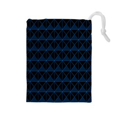 Colored Line Light Triangle Plaid Blue Black Drawstring Pouches (large)  by Alisyart