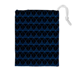 Colored Line Light Triangle Plaid Blue Black Drawstring Pouches (extra Large) by Alisyart