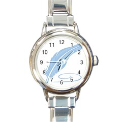 Feather Pen Blue Light Round Italian Charm Watch by Alisyart