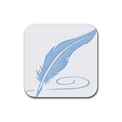 Feather Pen Blue Light Rubber Square Coaster (4 Pack)  by Alisyart