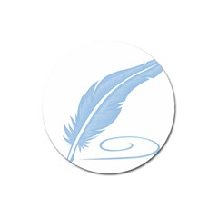Feather Pen Blue Light Magnet 3  (round) by Alisyart