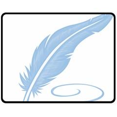 Feather Pen Blue Light Fleece Blanket (medium)  by Alisyart