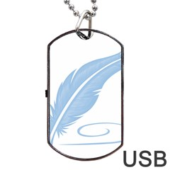 Feather Pen Blue Light Dog Tag Usb Flash (one Side) by Alisyart