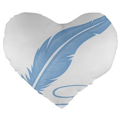 Feather Pen Blue Light Large 19  Premium Heart Shape Cushions by Alisyart