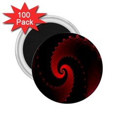 Red Fractal Spiral 2 25  Magnets (100 Pack)  by Simbadda
