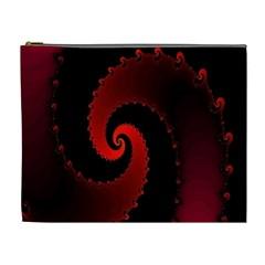 Red Fractal Spiral Cosmetic Bag (xl) by Simbadda