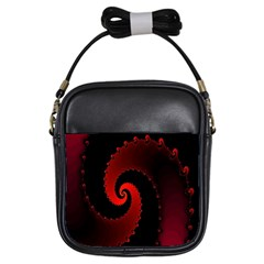 Red Fractal Spiral Girls Sling Bags by Simbadda