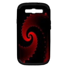 Red Fractal Spiral Samsung Galaxy S Iii Hardshell Case (pc+silicone) by Simbadda