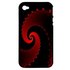 Red Fractal Spiral Apple Iphone 4/4s Hardshell Case (pc+silicone) by Simbadda