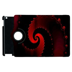 Red Fractal Spiral Apple Ipad 3/4 Flip 360 Case by Simbadda